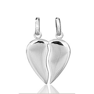 Image of Pendentif coeur à partager en argent rhodié