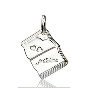 """Image of Pendentif livre ouvert """" je t'aime """" en argent."""