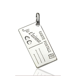 """Image of Pendentif carte postale """" je t'aime """" en argent"""