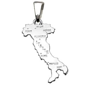 Sans - Pendentif italie en argent rhodié - petit modèle pas cher