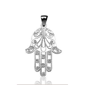 Image of Pendentif main de fatma en argent rhodié - grand modèle