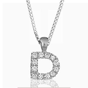"""Pendentif lettre """" D """" en argent rhodié serti de zirconias + collier en argent rhodié maille Carrée"""