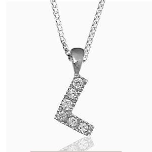 """Pendentif lettre """" L """" en argent rhodié serti de zirconias + collier en argent rhodié maille Carrée"""