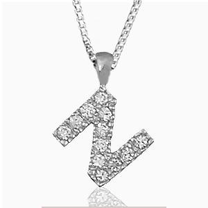 """Pendentif lettre """" N """" en argent rhodié serti de zirconias + collier en argent rhodié maille Carrée"""