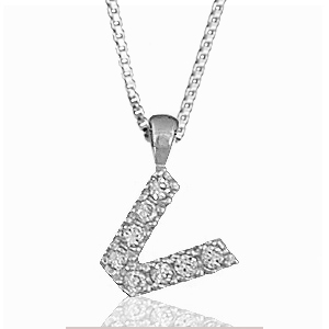 """Pendentif lettre """" V """" en argent rhodié serti de zirconias + collier en argent rhodié maille Carrée"""