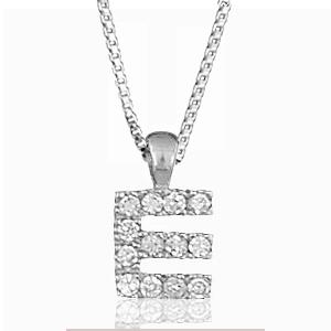 """Pendentif lettre """" E """" en argent rhodié serti de zirconias + collier en argent rhodié maille Carrée"""