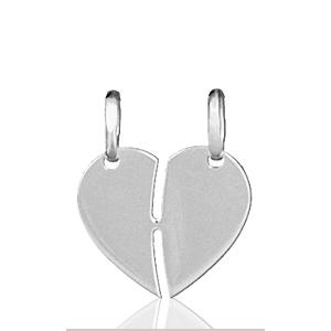 Image of Pendentif coeur à partager à graver en argent - modèle moyen