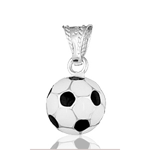 Image of Pendentif ballon de foot noir & blanc en argent