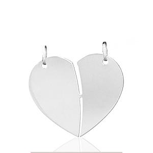 Image of Pendentif coeur à partager à graver en argent - grand modèle