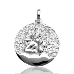 Image of Pendentif médaille ange ronde en argent rhodié - grand modèle
