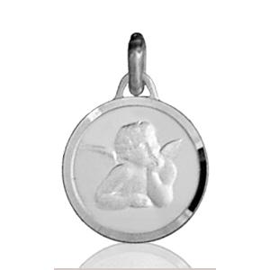 Image of Pendentif médaille ange ronde en argent