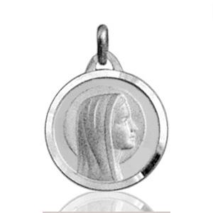 Image of Pendentif médaille vierge ronde en argent