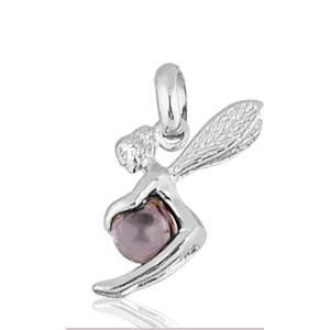 Image of Pendentif fée pierre violette en argent