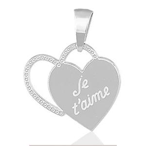 """Image of Pendentif coeurs """" je t'aime """" en argent rhodié"""