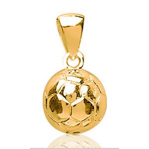 Sans - Pendentif ballon de foot plaqué or - grand modèle pas cher