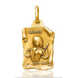 Pendentif zodiaque parchemin Balance plaqué or
