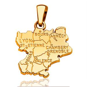 Pendentif Rhône Alpes plaqué or