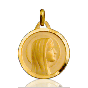Image of Pendentif médaille vierge ronde plaqué or