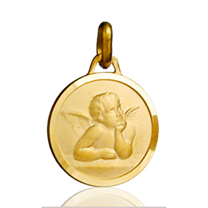 Image of Pendentif médaille ange ronde plaqué or