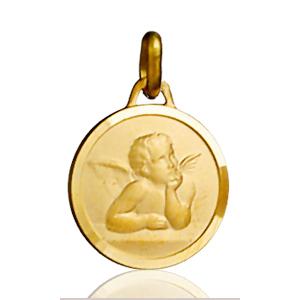 Sans - Pendentif médaille ange ronde plaqué or pas cher