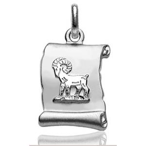 Pendentif zodiaque parchemin Bélier en argent rhodié