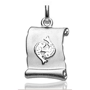 Pendentif zodiaque parchemin Poisson en argent