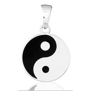 Image of Pendentif yin - yang en argent rhodié