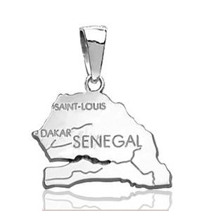 Image of Pendentif sénégal en argent rhodié