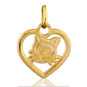Image of Pendentif coeur découpé chat plaqué or