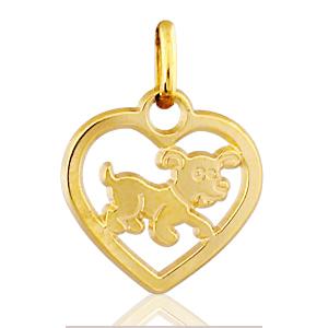 Image of Pendentif coeur découpé chien plaqué or