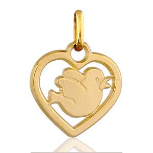 Image of Pendentif coeur découpé oiseau plaqué or