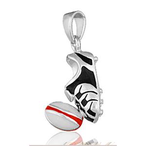 Pendentif Chaussure et ballon de rugby en argent