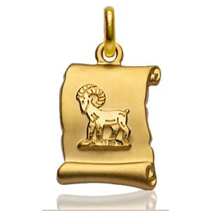 Pendentif zodiaque parchemin Bélier plaqué or