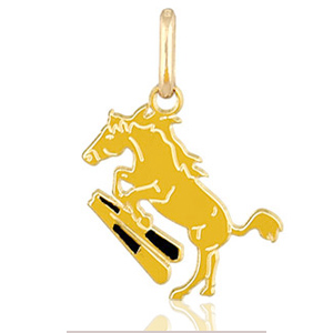 Image of Pendentif cheval saut d'obstacle plaqué or