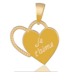 """Sans - Pendentif coeurs """" je t'aime """" plaqué or pas cher"""