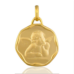 Sans - Pendentif médaille ange cachet plaqué or pas cher