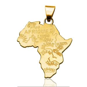 Pendentif Afrique plaqué or - grand modèle