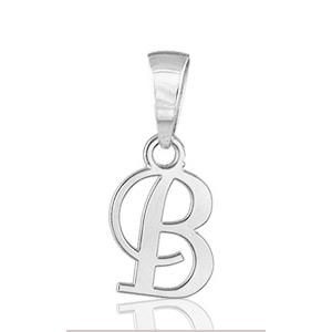 """Sans - Pendentif lettre """" b """" en argent rhodié - lettrine anglaise stylisée - petit modèle pas cher"""