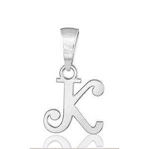 """Image of Pendentif lettre """" k """" en argent rhodié - lettrine anglaise stylisée - petit modèle"""