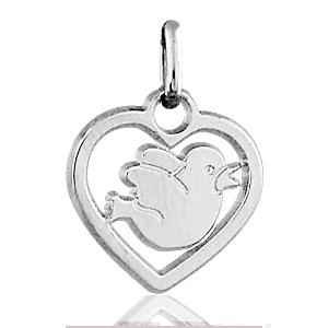 Image of Pendentif coeur découpé oiseau en argent rhodié
