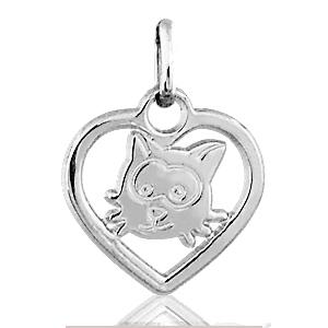 Image of Pendentif coeur découpé tête de chat en argent rhodié