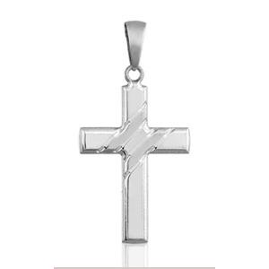 Image of Pendentif croix chrétienne large en argent