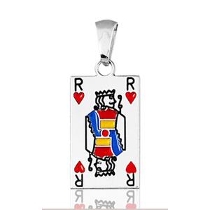 "Image of Pendentif carte de poker "" roi de coeur "" en argent rhodié"