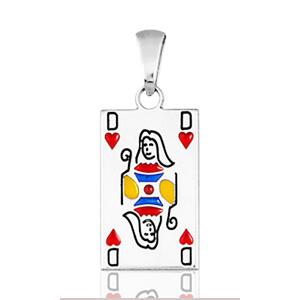 "Image of Pendentif carte de poker "" dame de coeur "" en argent rhodié"