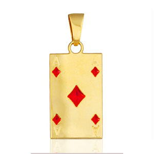 "Pendentif carte de poker "" as de carreau "" plaqué or"