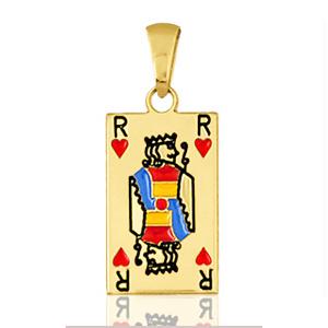 """Image of Pendentif carte de poker """" roi de coeur """" plaqué or"""