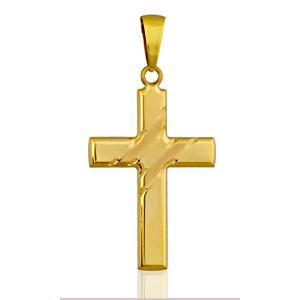Image of Pendentif croix chrétienne large plaqué or