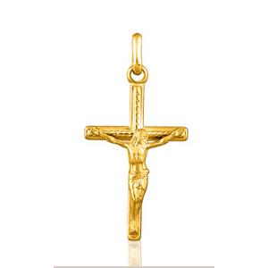 Image of Pendentif jesus et croix chrétienne plaqué or