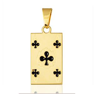 """Pendentif carte de poker """" as de trèfle """" plaqué or"""