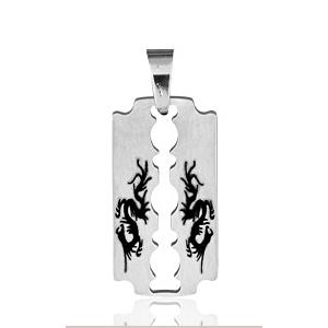 Pendentif Lame de rasoir motif dragon chinois en acier